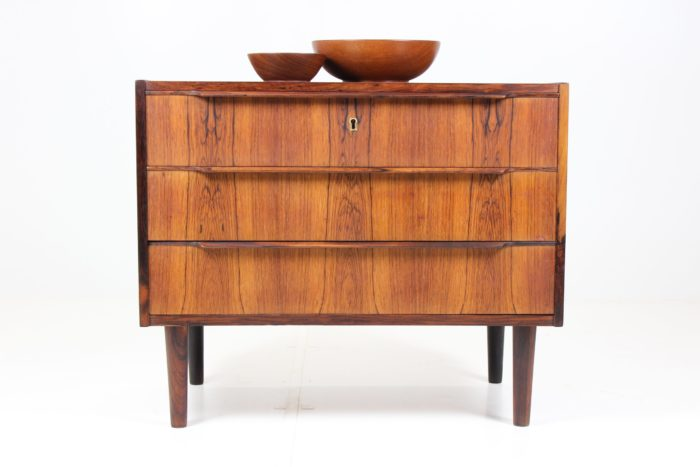 Retro Vintage Minimalist Chest of Drawers in Rich Teak Grain Pattern