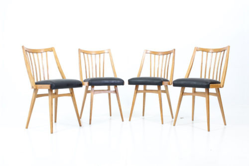 Retro Vintage 60's Side Chairs in Oak with Spindle Back