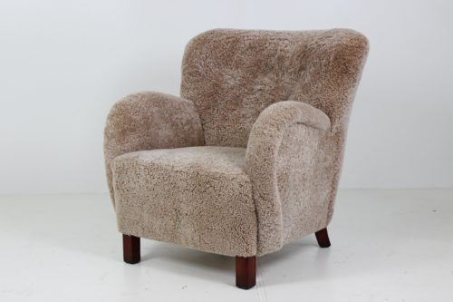 Retro Vintage Large Organic Shaped Lounge Chair in Sheepskin