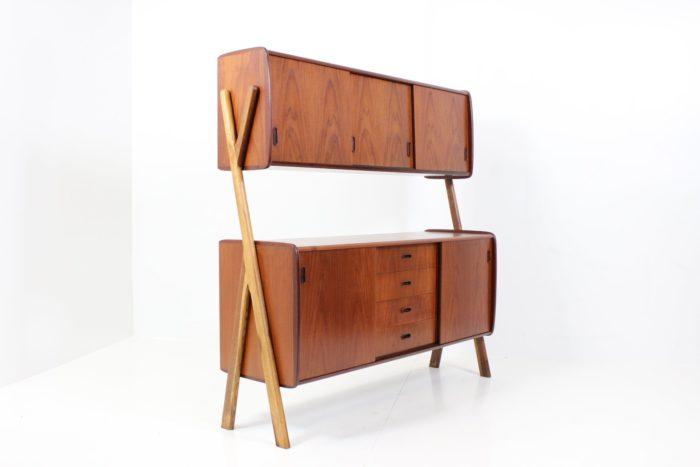 Retro Vintage Organic Shaped Standing Wall Unit in Teak