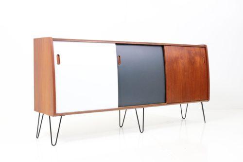 Retro Vintage Classical Mid-Century Bent Front Sideboard in Teak