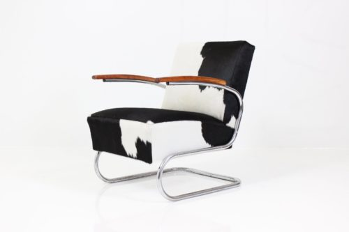 Vintage Bauhaus Tubular Steel Armchair S 411 by Thonet Team