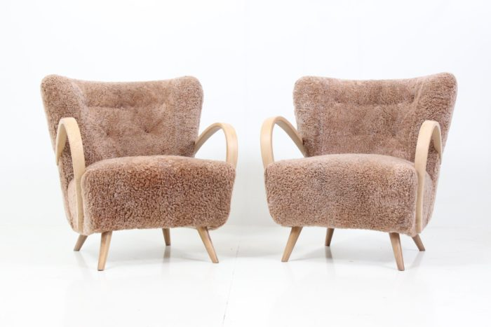 Retro Vintage Organic Shaped Armchairs in Sheepskin