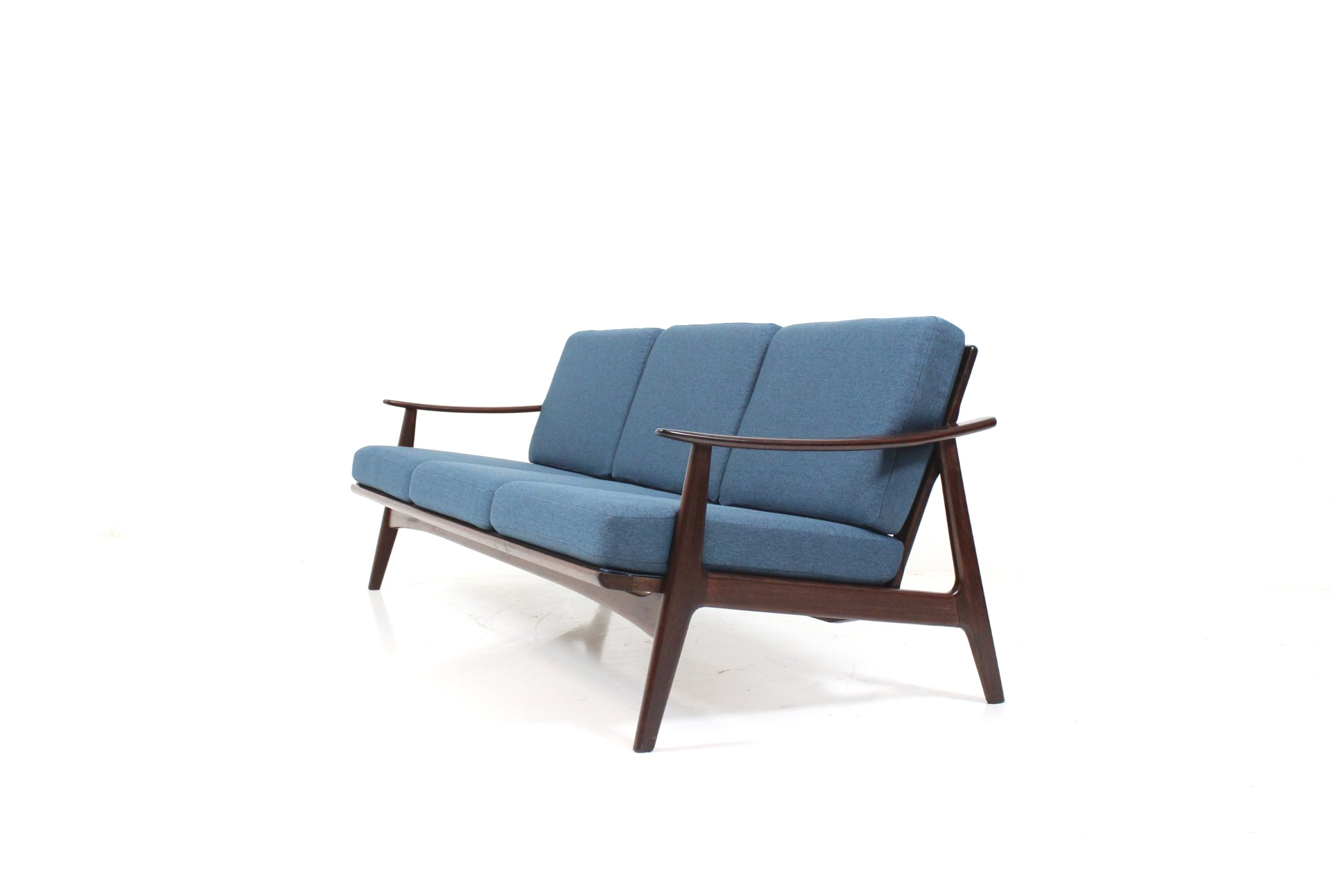 three seater cushion sofa in teak for knoll antimott. Black Bedroom Furniture Sets. Home Design Ideas