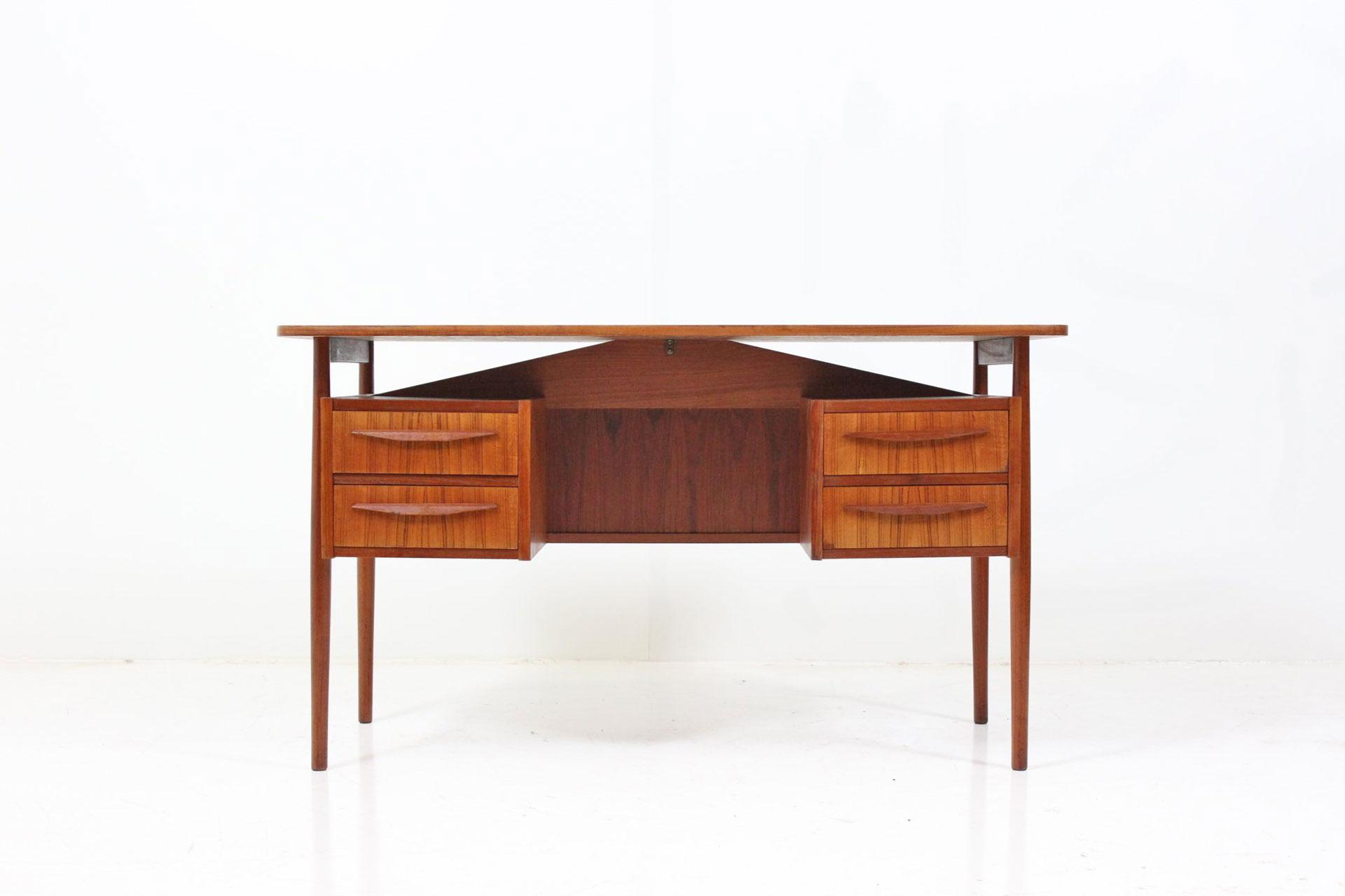 Retro Vintage Danish Teak Floating Drawer Rack Desk