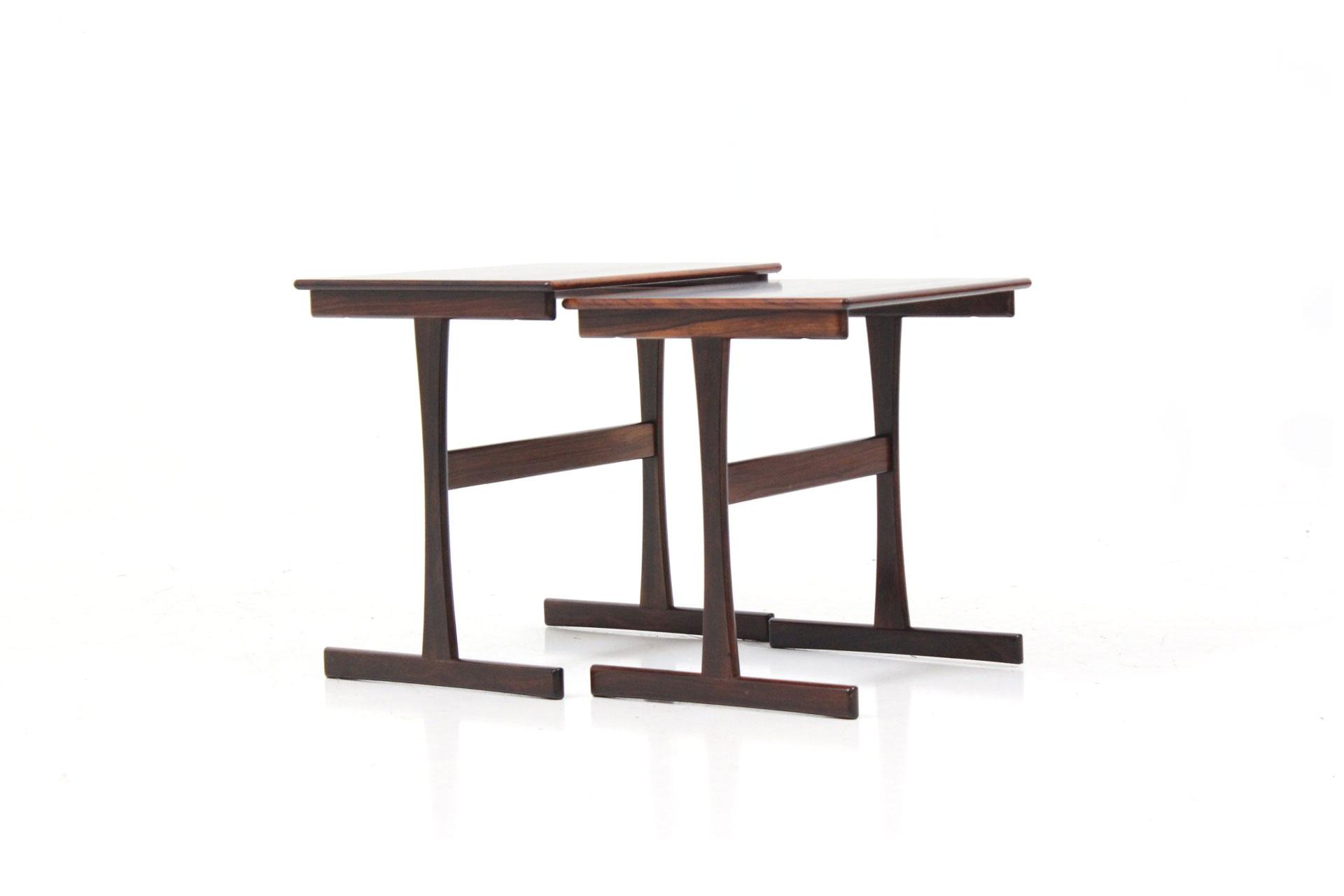 Retro Vintage Minimalist Nesting / Stacking Tables in Palisander